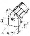 Spojka nerezového madla 40x40 mm - nastaviteľná